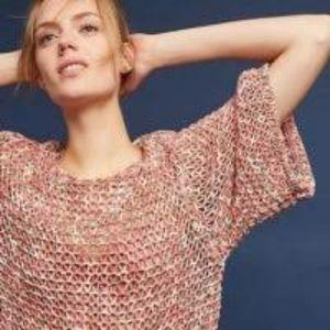Salinas Peach/Green Open Knit Short Sleeve Sweater